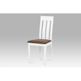 Jídelní židle masiv buk, barva bílá, potah hnědý