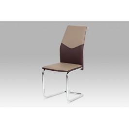 Jídelní židle koženka cappuccino + hnědá / chrom
