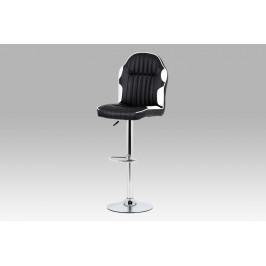 Barová židle koženka černá + bílá / chrom