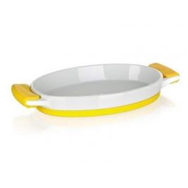BANQUET Mísa zapékací oválná Yellow 33x17x4,2 cm, se silikonovými rukojetí
