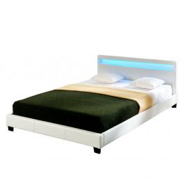 Corium® Moderní manželská postel HTB-1014 - koženka - s LED podsvietením - 180x200cm (bílá)