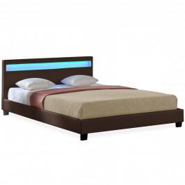 Corium® Moderní manželská postel HTB - 1066 - koženka - s LED podsvietením - 180x200cm (tmavě hnědá)