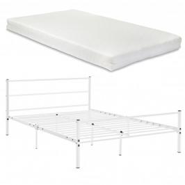 [en.casa]® Kovová manželská postel s matrací AADB-1708M
