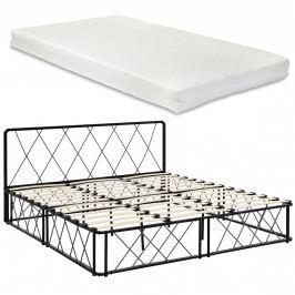 [en.casa]® Kovová manželská postel - 180 x 200 cm - černá - s matrací a roštem