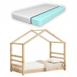 [en.casa] Dětská postel domeček AAKB-8697 borovice 80x160 cm s matrací a roštem