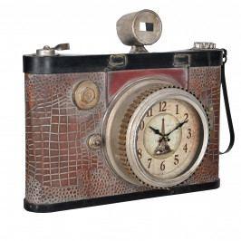 Nástěnné hodiny ve tvaru starého fotoaparátu - analogové - 43 x 14 x 34 cm – barevné - sklo