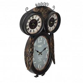 Nástěnné hodiny ve tvaru sovy - analogové - 32 x 8 x 52 cm - barevné - sklo