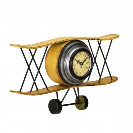 Nástěnné hodiny ve tvaru dvouplošného letadla - analogové - 38 x 7 x 21,5 cm - barevné