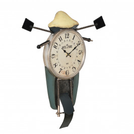 Nástěnné hodiny ve tvaru motocyklu - analogové - 47 x 5,5 x 56 cm - barevné