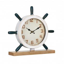 Stolní hodiny ve tvaru kormidla - analogové - 34 x 8 x 32 cm - barevné - sklo
