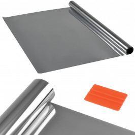 Privátní fólie na sklo - samolepící - 75cmx50m  - stříbrná - zrcadlová