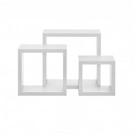 Třídílná sada designových polic na zeď - bílá