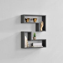 Dvoudílná sada designových polic na zeď - tmavě šedá