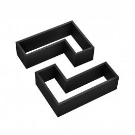 Dvoudílná sada designových polic na zeď - černá