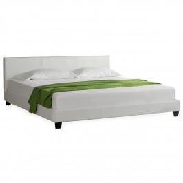 Moderní manželská postel, čalouněná - koženka 140x200cm (bílá)