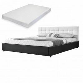 Elegantní manželská postel - matrace ze studené HR pěny - prošívaná - 140x200cm (Záhlaví: koženka bílá / Rám: koženka černá) - s roštem