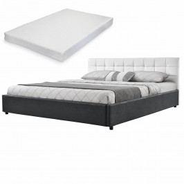 Elegantní manželská postel - matrace ze studené HR pěny - prošívaná - 140x200cm (Záhlaví: koženka bílá / Rám: alcantara koženka tmavě šedá) - s roštem