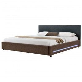 Elegantní manželská postel s LED podsvícením - 180x200cm (Záhlaví: textil černá / Rám: alcantara koženka hnědá) - s roštem