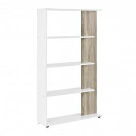 Knihovna - imitace dřeva / bílá - 141 x 80 x 23,5 cm
