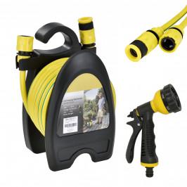 in.tec]® Hadice - zatahovací hadice,žlutá zelená pruhy,10 m