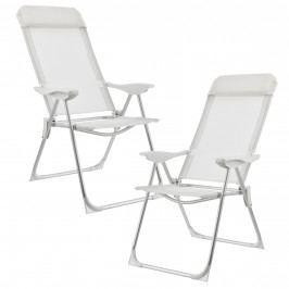 Campingové židle - rybářské křeslo set,108 x 58 cm,43 cm,bilá