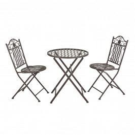 Bistro Set - kulatý stůl s 2 židlemi,89 x 65 x 40 cm,46 cm,zelená