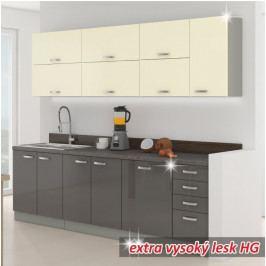 Kuchyňská linka, základní sestava, šedá vysoký lesk / krémová vysoký lesk, PRADO