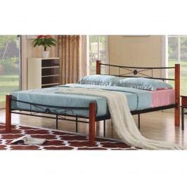 Manželská kovová postel, s roštem, kov + dřevo-třešeň, 160x200, AMARILO