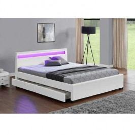 Manželská postel s úložným prostorem, RGB LED osvětlení, bílá ekokůže, 160x200, CLARETA