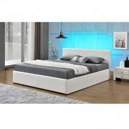 Manželská postel s RGB LED osvětlením, bílá, 180x200, JADA