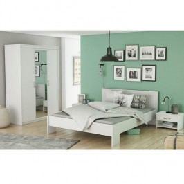 Ložnicový komplet (3-dveřová skříň + postel + 2x noční stolek), bílá, ambian