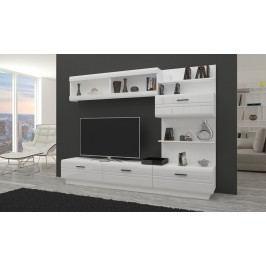 Obývací stěna AXAL bílá/bílý lesk