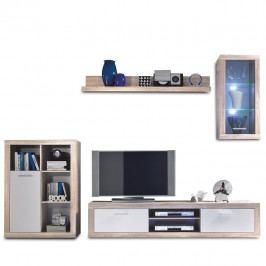 Obývací stěna, dub sonoma / bílá, CARACAS