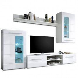 Obývací stěna, bílá extra vysoký lesk / čiré sklo, HENRI