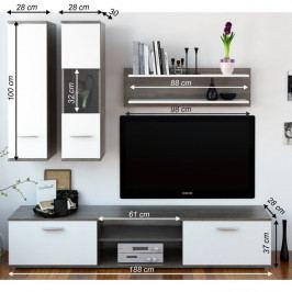 Obývací stěna, dub truflový / bílá, WAW