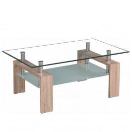 Konferenční stolek, sklo/dub sonoma, LIBOR NEW