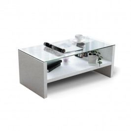 Konferenční stolek, sklo/bílá, TIBER