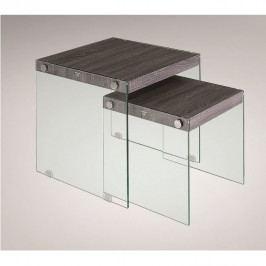 Set 2 konferenčních stolků, tvrzené sklo / dřevo, MOHAN