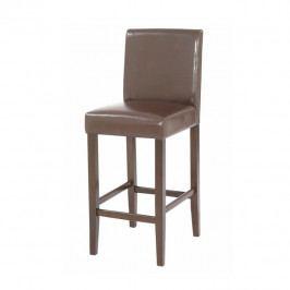 Židle barová, text. kůže PU / dřevěné nohy, tmavě hnědá, MONA NEW