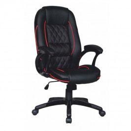 Kancelářská židle, ekokůže černá / červený lem, PORSHE