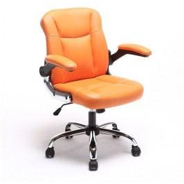 Kancelářské křeslo, ekokůže oranžová + kovová podstava + plastové područky, GARED