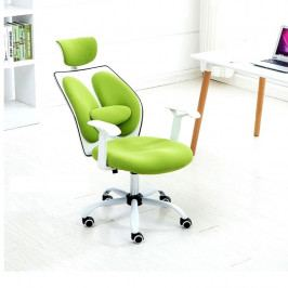 Kancelářské křeslo s opěrkou hlavy, zelená / bílá, BENNO UT-C568X