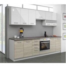 Kuchyňská sestava, bílý lesk + dub late / korpus bílý, LEWIS