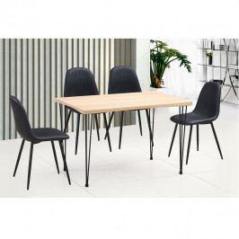 Jídelní stůl, světlý buk / černá, GORDAN