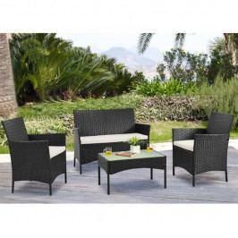 Zahradní set, dvojsed + 2x křeslo + konferenční stůl, ratan, tmavohnědá / krémová, RATTY