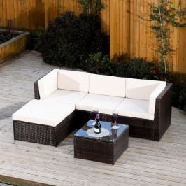 Zahradní set, roh s polštáři + konferenční stůl, ratan, tmavohnědá / krémová, ALERA