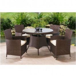 Zahradní set, stůl + 4x židle, ratan, tmavohnědá / krémová, RANDEL