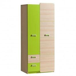 Věšáková skříň, jasan/zelená, EGO L1