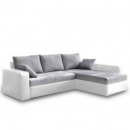 Rohová sedací souprava, ekokůže bílá/šenil šedá, VIPER