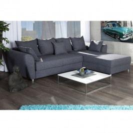 Rohová univerzální sedací souprava, rozklad + úložný prostor, látka šedá, ROMA NEW